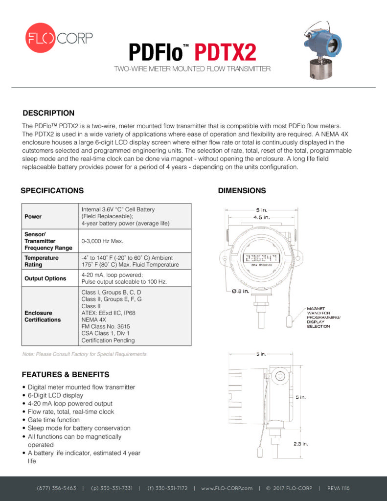 FLO-CORP_PDFlo_PDTX2_Two-Wire_Flow_Transmitter-Monitor | FLO